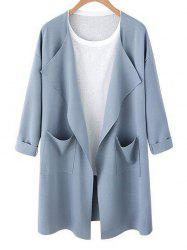 Drop Shoulder Open Front Pocket Trench Coat -