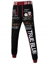 Drawstring Embroidery Graphic Jogger Pants -