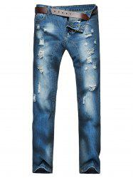 Straight Leg Ripped Jeans -