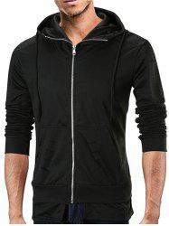 Layered Hem Distressed Detail Zip Up Hoodie -