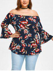 Off Shoulder Plus Size Floral Blouse -