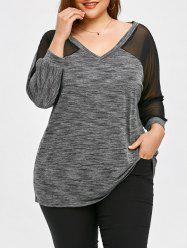 Mesh Panel Plus Size Raglan Sleeve T-shirt -