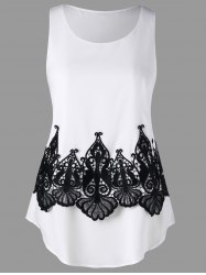 Hollow Out Lace Embellished Tank Top -