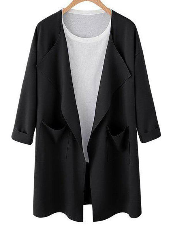 Outfit Drop Shoulder Open Front Pocket Trench Coat