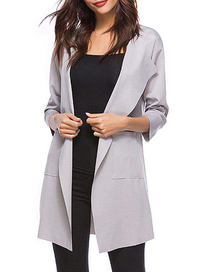Store Drop Shoulder Open Front Pocket Trench Coat