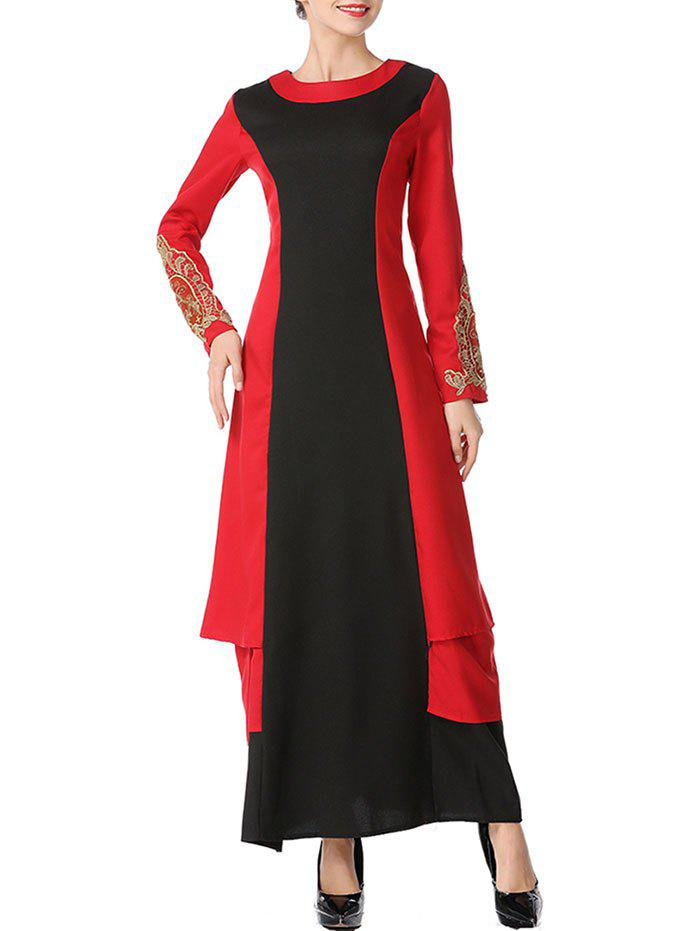 Discount Color Block Embroidered Maxi Arabic Dress