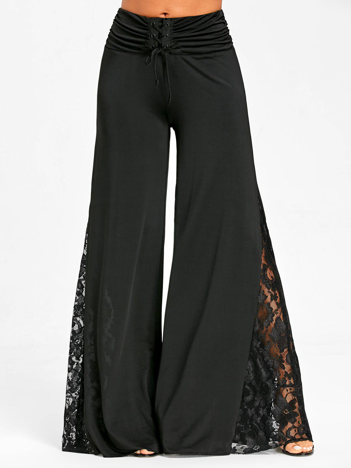 Hot Lace Trim Palazzo Pants