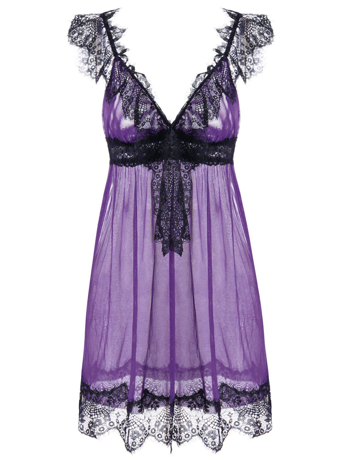 Cheap Sheer Lace Tulle Lingerie Babydoll Dress