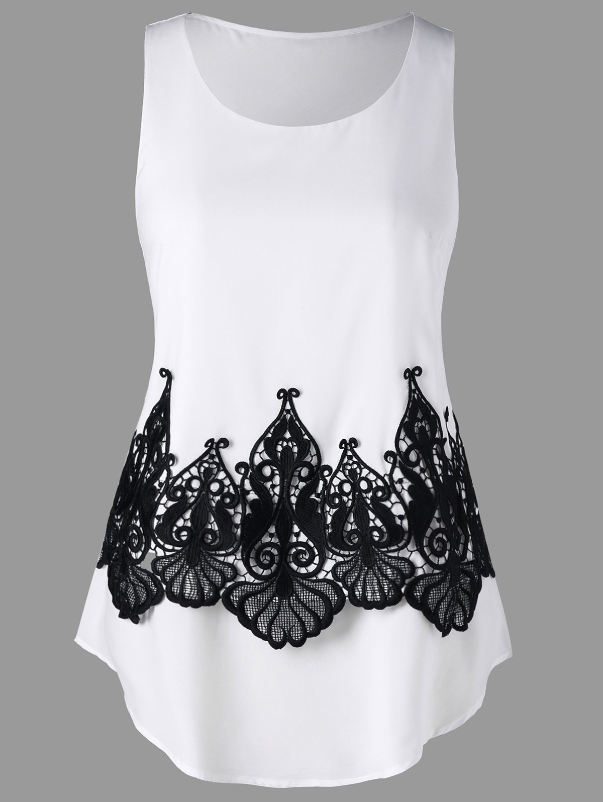b06b820f0927f4 2019 Hollow Out Lace Embellished Tank Top