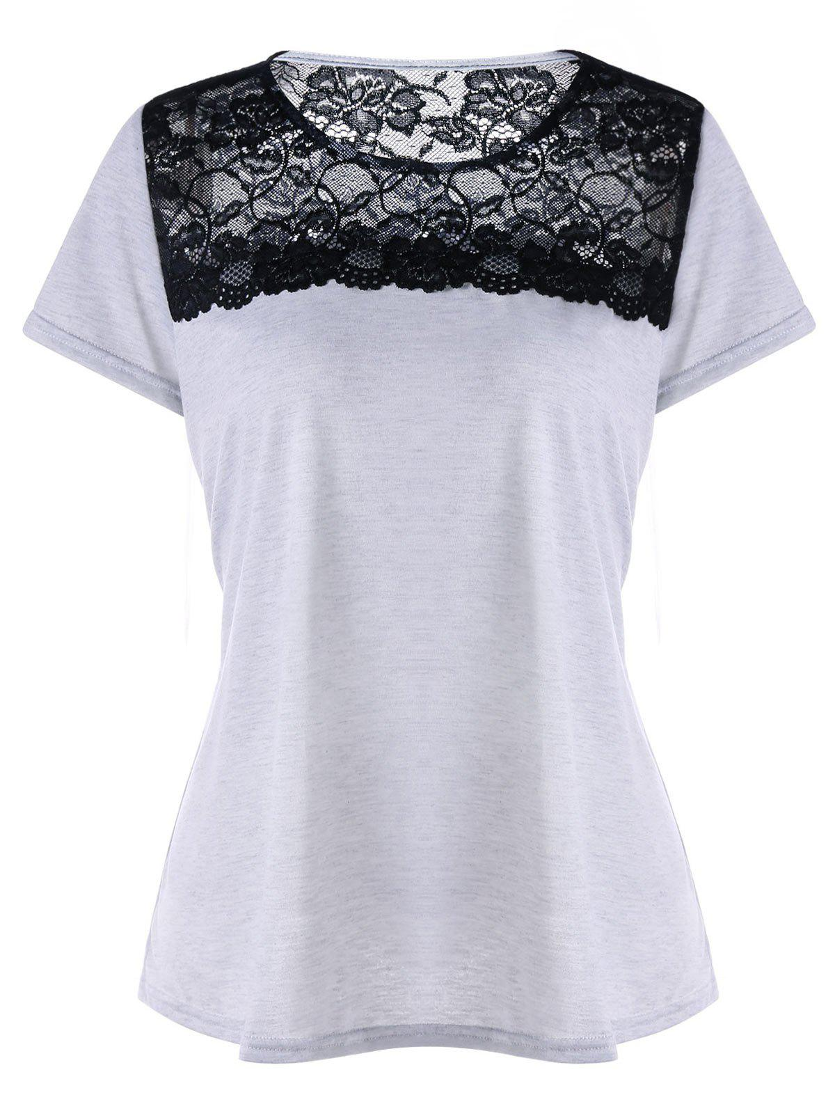 Latest Short Sleeve Lace Insert T-shirt