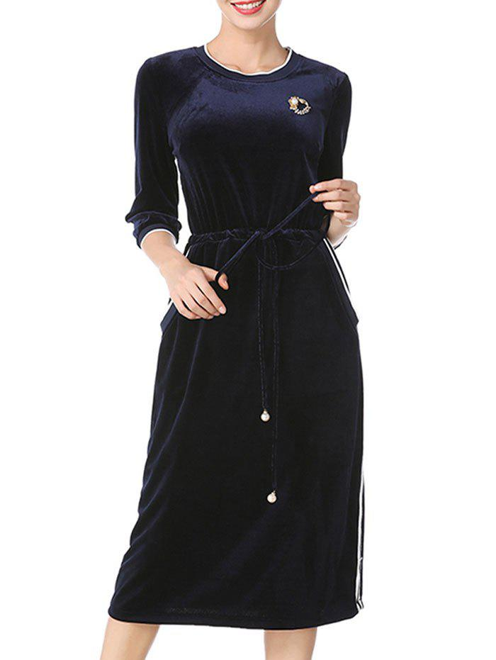 Sale Stripe Drawstring Velvet Midi Dress