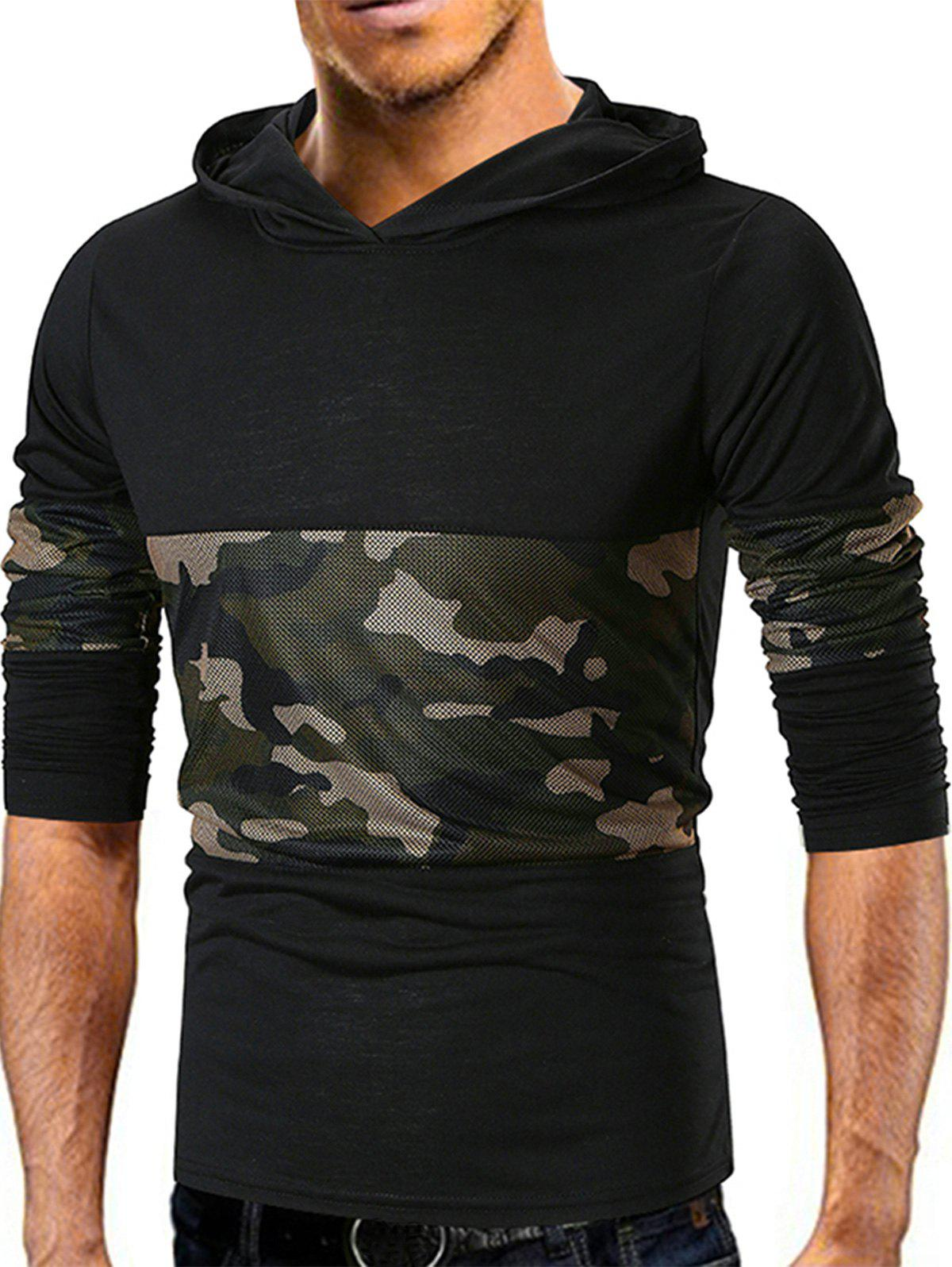 Outfit Camo Mesh Panels Pullover Hoodie