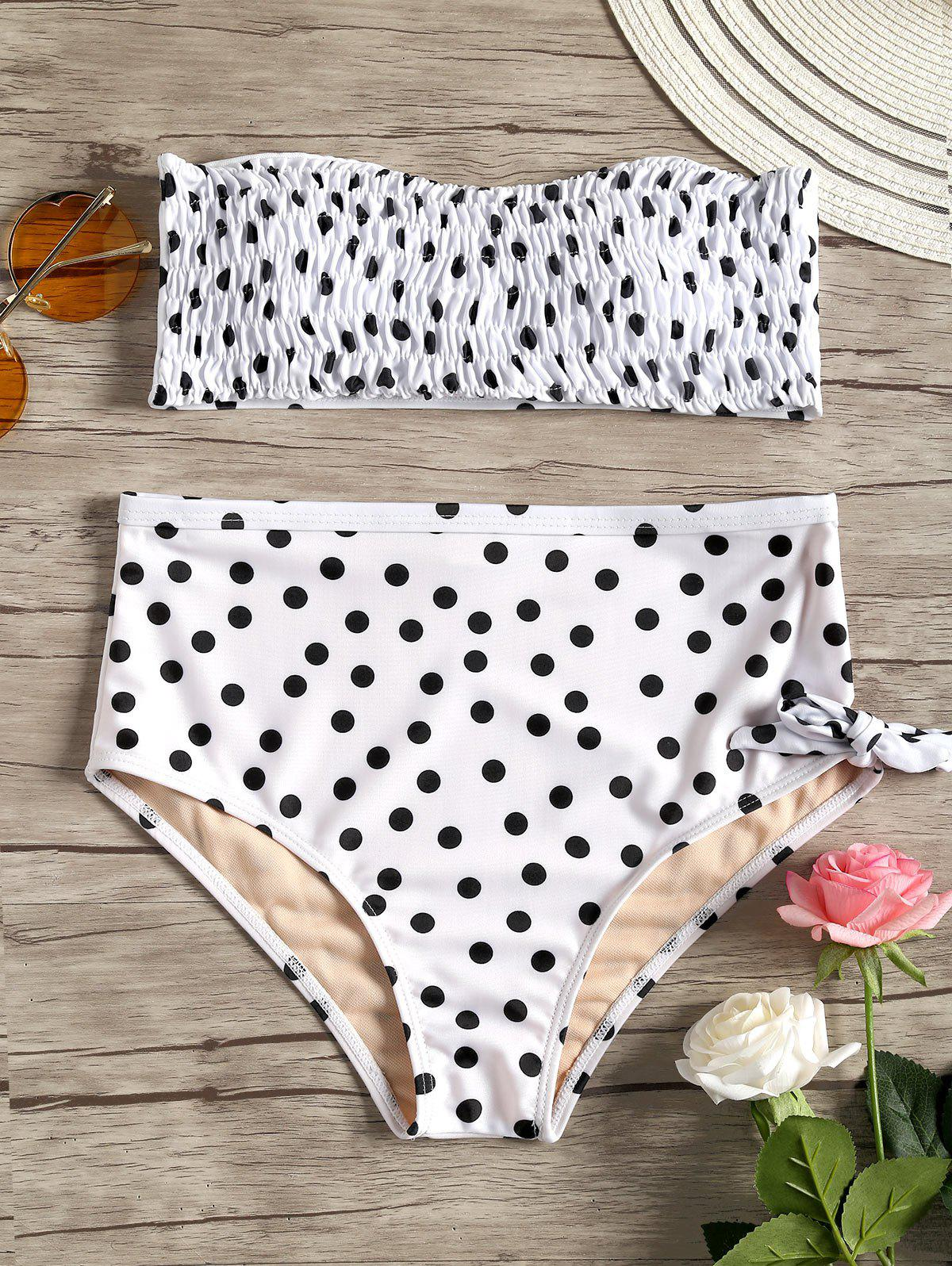 Trendy Smocked Polka Dot Bikini Set