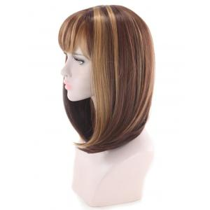 Medium Side Bang Colormix Straight Bob Cosplay Synthetic Wig -