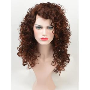 Long Side Bang Fluffy Colormix Kinky Curly Lace Front Synthetic Wig -