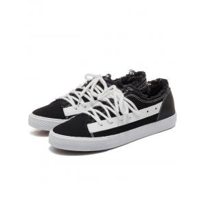 Two-tone Canvas Frayed Skate Shoes -