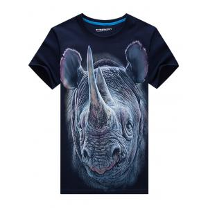 Crew Neck Rhinoceros Face Print Funny T-shirt -