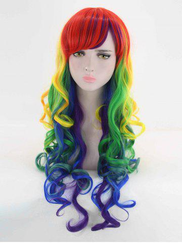 Fancy Long Side Bang Loose Wave Colormix Synthetic Cosplay Wig