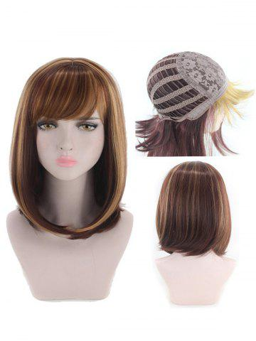 Perruque synthétique Side Side Bang Colormix Straight Bob Cosplay