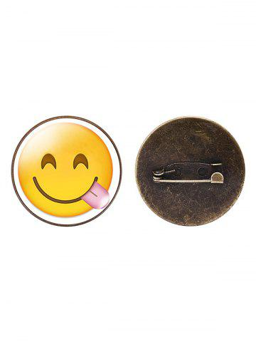 Fancy 1PC Funny Alloy Emoji Face Round Brooch