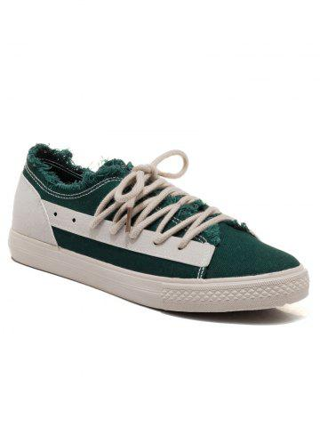 Chic Two-tone Canvas Frayed Skate Shoes