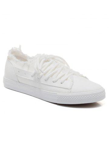 Trendy Two-tone Canvas Frayed Skate Shoes