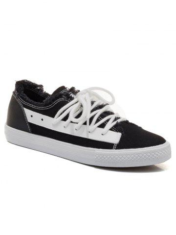 New Two-tone Canvas Frayed Skate Shoes