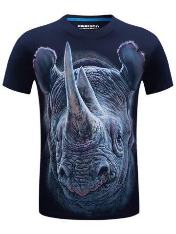 Best Crew Neck Rhinoceros Face Print Funny T-shirt