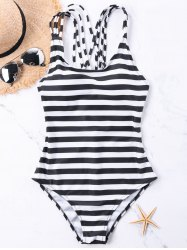 Strappy Back One Piece Stripe Swimwear -