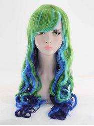 Long Side Bang Wavy Colormix Synthetic Cosplay Wig -