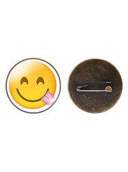 1PC Funny Alloy Emoji Face Round Brooch -