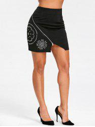 Flower Rivets Zipper Mini Skirt -