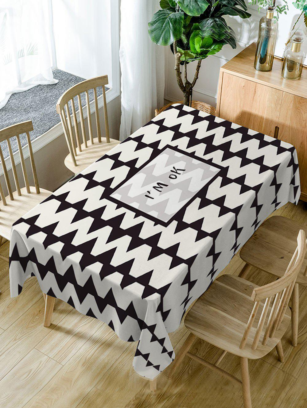 Trendy Zig Zag Pattern Waterproof Dining Table Cloth