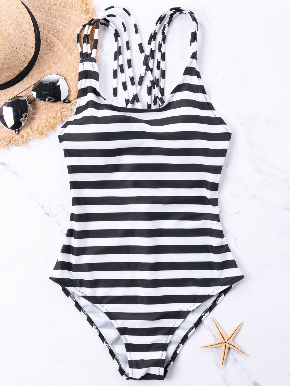 Affordable Strappy Back One Piece Stripe Swimwear
