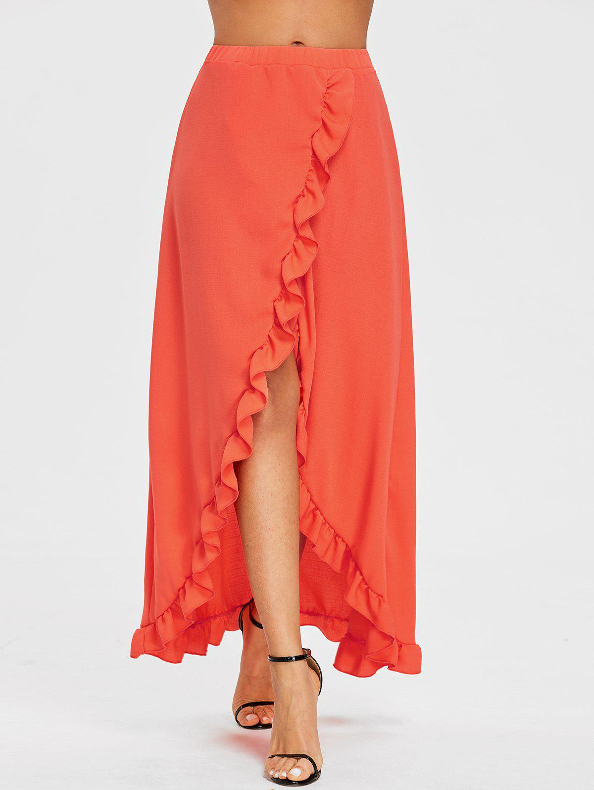 Trendy Ruffle Floor Length Tulip Skirt