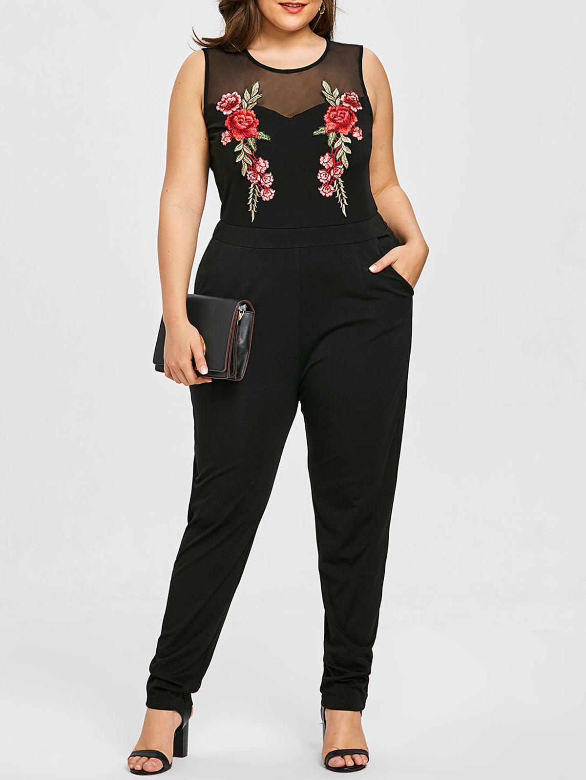 Best Plus Size Sleeveless Mesh Yoke Embroidery Jumpsuit