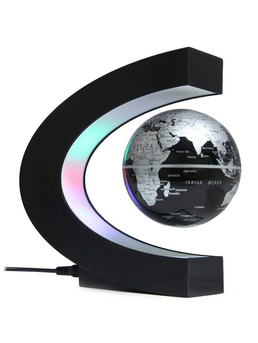 Online C Shape Magnetic Levitation Floating Globe World Map with LED Light Decoration for Home Office