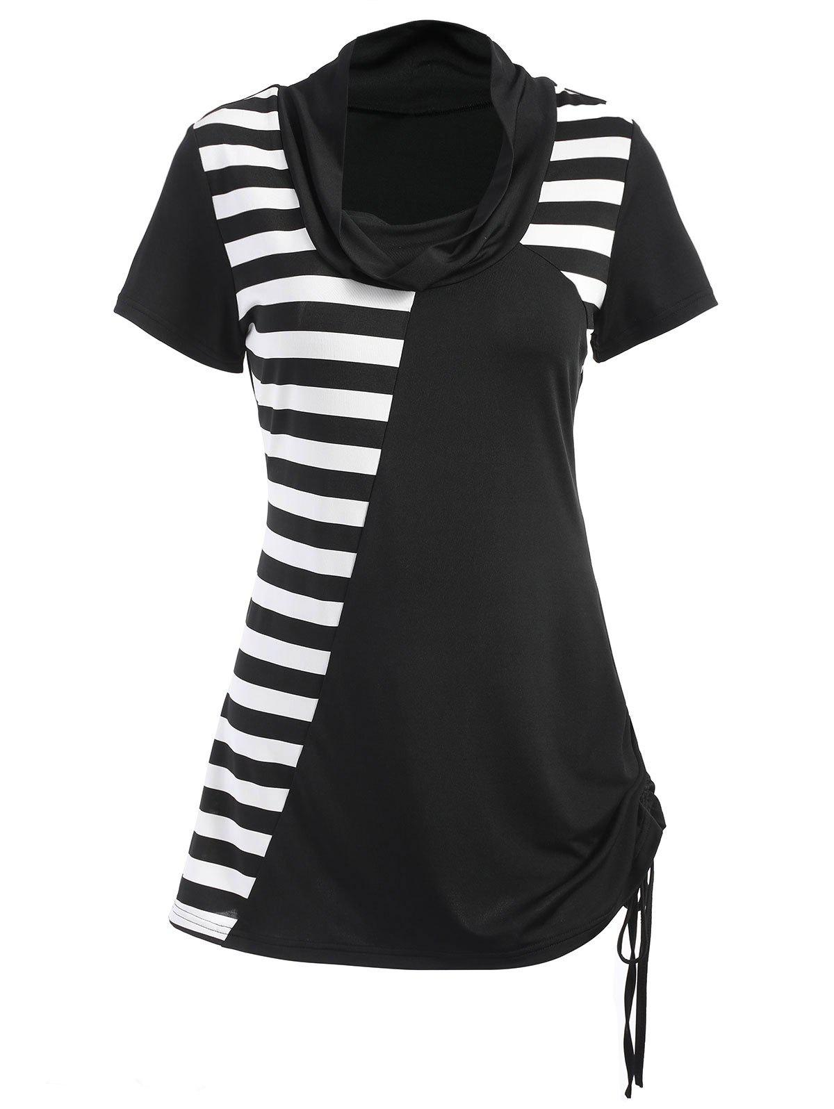 Outfit Stripe Panel Short Sleeve T-shirt