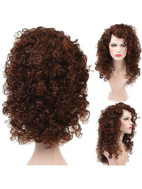 New Long Side Bang Fluffy Colormix Kinky Curly Lace Front Synthetic Wig