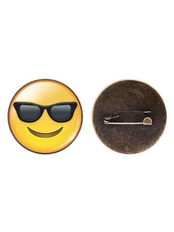 Outfits 1PC Funny Alloy Emoji Face Round Brooch