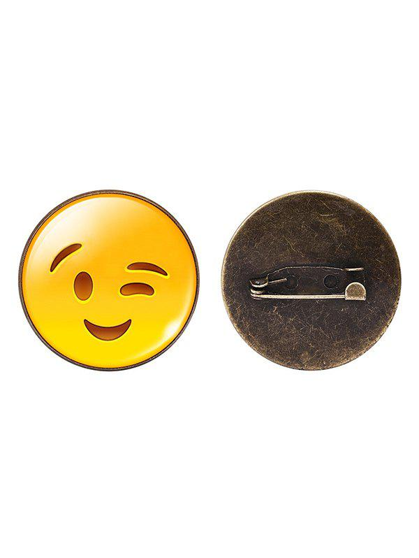 Shop 1PC Funny Alloy Emoji Face Round Brooch
