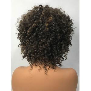 Short Side Bang Colormix Fluffy Curly Synthetic Wig -