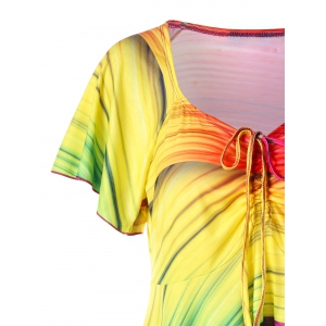 Plus Size V Neck Rainbow Handkerchief T-shirt -