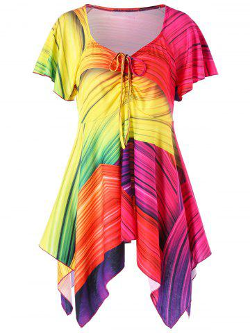 Fancy Plus Size V Neck Rainbow Handkerchief T-shirt