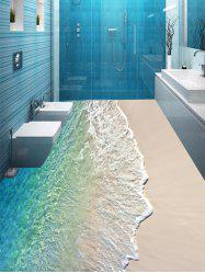 Beach Wave Pattern Floor Stickers for Bathroom -