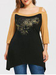 Plus Size Open Shoulder Crescent Hem T-shirt -