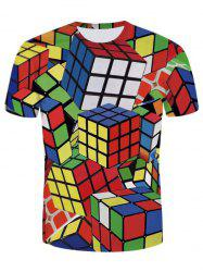 Crew Neck Colorful Cube Print Tee -