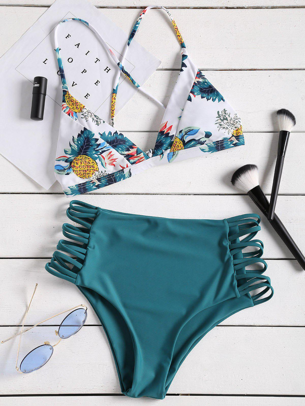 45c17b7692c 2019 Pineapple Print Strappy High Rise Bikini Set