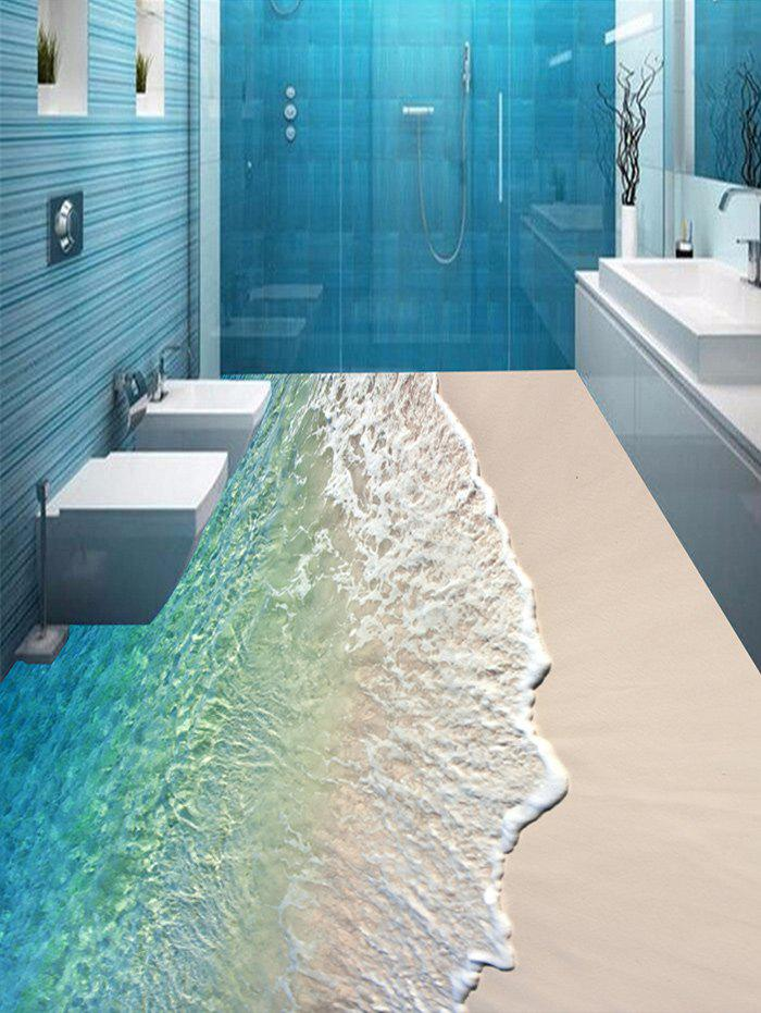 Shop Beach Wave Pattern Floor Stickers for Bathroom
