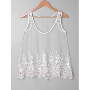 Embroidered Mesh Tank Top Set -